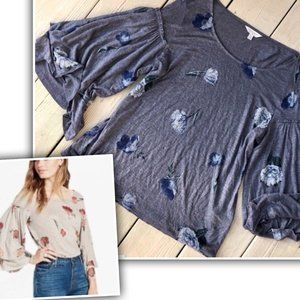 Like New Lucky Brand Duque Floral Tier Bell Sleeve